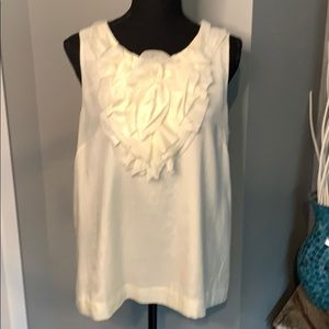 J.Crew Silk Blend Shell with Large Rosette - Ivory